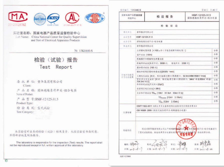 HSIF-12/125-31.5检验报告