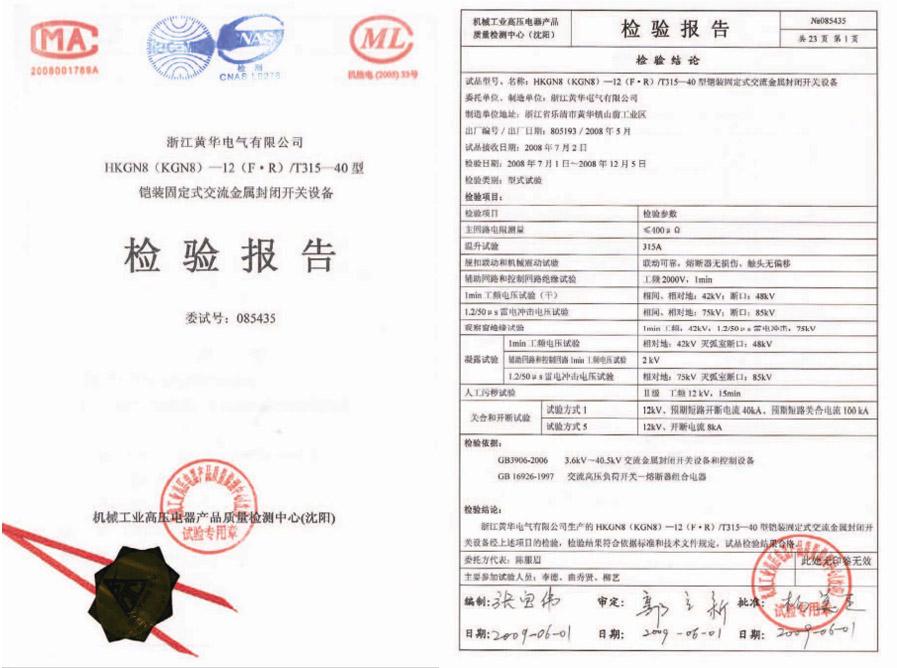 HKGN8(KGN8)-12(F-R)/T315-40检验报告