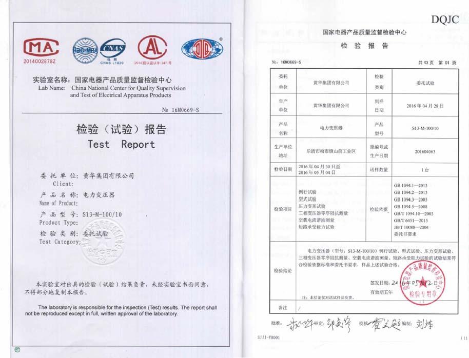 S13-M-100/10检验报告