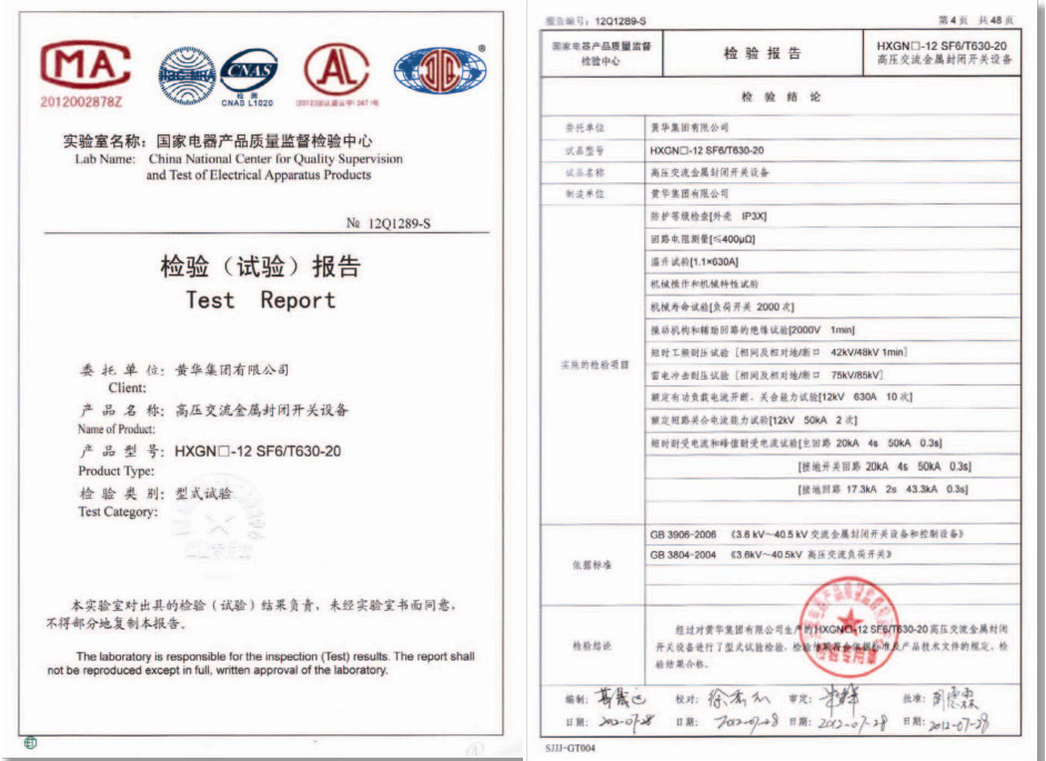 HXGN-12 SF6/T630-20检验报告