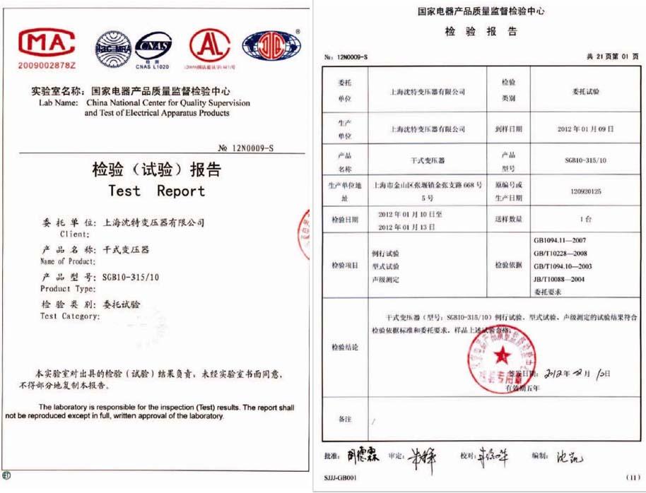 SGB10-315/10检验报告
